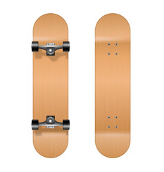 skateboarding realistic 3d wooden blank vector image