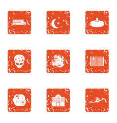 Study of alien icons set grunge style vector