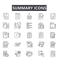 Summary line icons for web and mobile design vector
