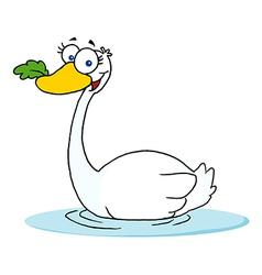 Swan Swimming vector image