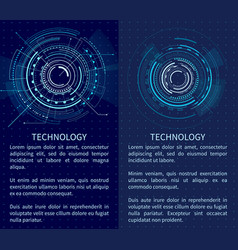 Technology banner with two interface patterns vector