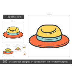 Tourist hat line icon vector