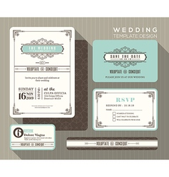 Vintage art deco wedding invitation set Template vector image vector image