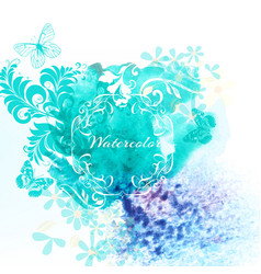 Watercolor invitation background with blue spot vector