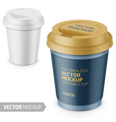 White matte disposable cup with lid template vector
