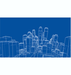 wire-frame twisted city blueprint style vector image
