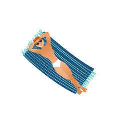 Young man in swimwear and sunglasses sunbathes vector