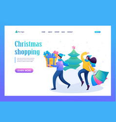 young people buying christmas gifts vector image