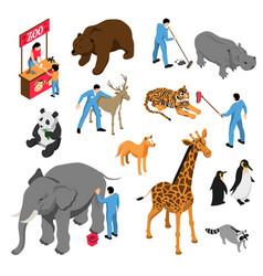 zoo workers isometric set vector image