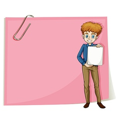 A boy holding an empty signage standing in front vector image vector image