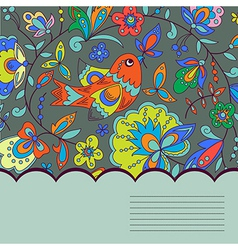 background with bird plant and flower vector image
