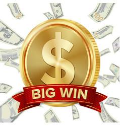 big win sign background design for online vector image