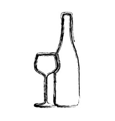 blurred sketch contour wine bottle and glass cup vector image vector image