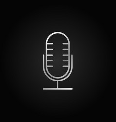 mic silver line icon retro microphone vector image vector image