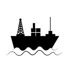 monochrome silhouette with tanker in sea vector image