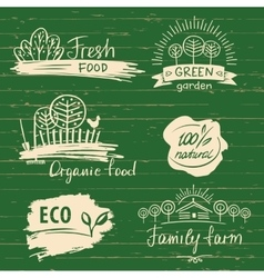 Organic food label and logos set Farm Fresh label vector image vector image