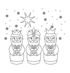 Outlined three magic kings bring presents to jesus vector
