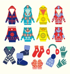 winter clothes and accessories vector image vector image