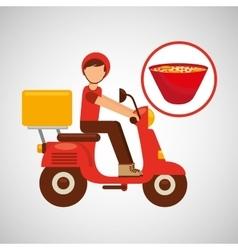 delivery boy ride motorcycle ramen vector image