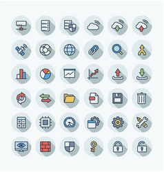 flat color thin line icons set with big vector image vector image