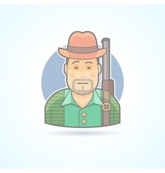 Huntsman with a gun hunting man icon vector image vector image