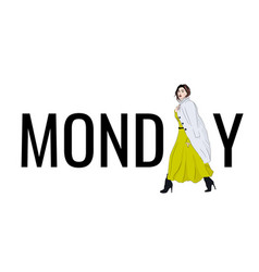 Model monday outfit fashion vector