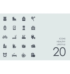 Set of healthy lifestyle icons vector image