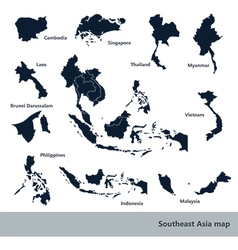 Southeast Asia map2 vector image