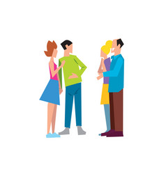 two family couple speaking together vector image vector image