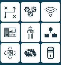 set of 9 artificial intelligence icons includes vector image vector image