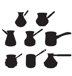 set turk for brewing coffee vector image vector image