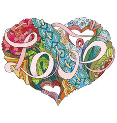 sketchy doodle heart with word love vector image