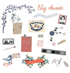 Blog elements set for the retro design vector image