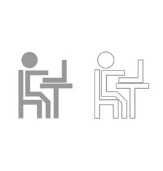 human working at the laptop grey set icon vector image vector image