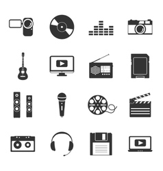 Multimedia black and white flat icons set vector image vector image