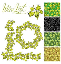 Set of grapes frames and repeated element for wine vector image vector image