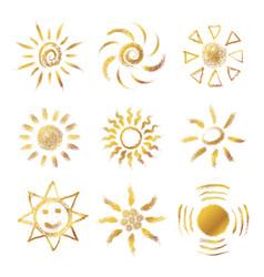set of hand drawn chalk suns vector image vector image