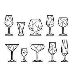set triangle icon glasses vector image