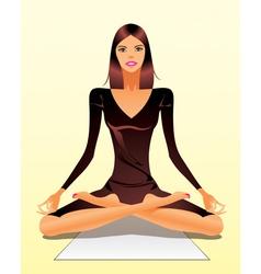 Woman exercising yoga meditation vector