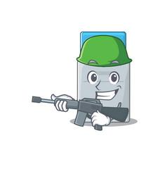 A cartoon design key card army with machine gun vector