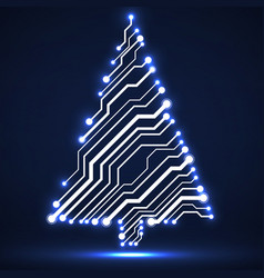 Abstract technology christmas tree vector