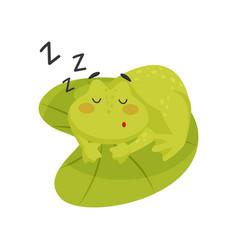 Adorable frog sleeping on lotus leaf cute green vector