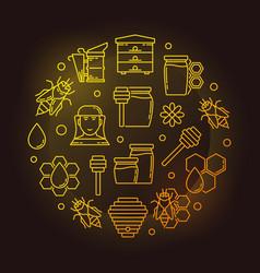 beekeeping outline yellow on vector image