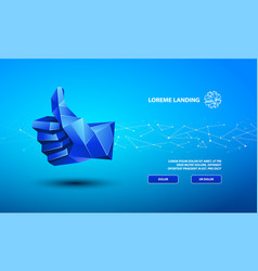 Blue low poly thumb up symbol technology vector