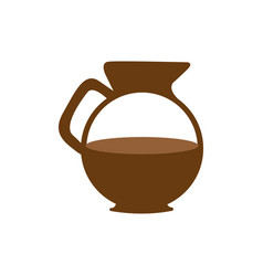 Brown glass jar of coffee with handle vector