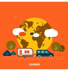 Caravaning near the tree caravaning tourism vector