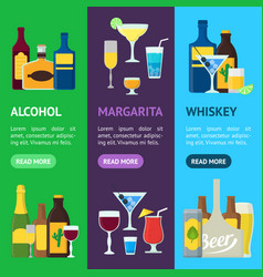 cartoon alcoholic beverages banner vecrtical set vector image