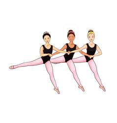 Cartoon cute little ballerinas n dance leotards vector