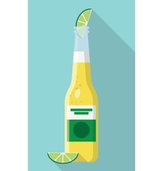 Cerveza Bottle Beer with Lime Wedge vector image