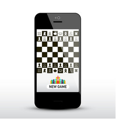 chess game app on mobile phone chessboard on vector image